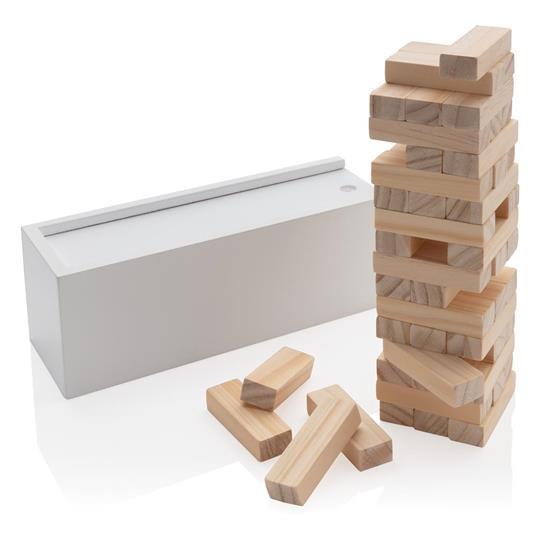 Stapelspel i trä med tryck Vit