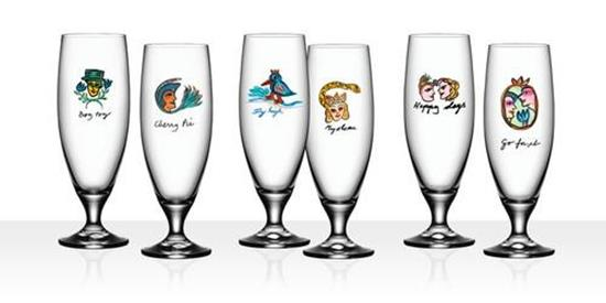 Kosta Boda FRIENDSHIP Ölglas 50cl 6st med tryck Transparent
