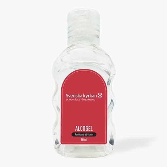 Handsprit flaska Alcogel 50ml med tryck Vit
