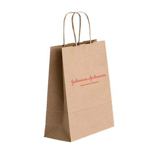 Papperspåse Butik Medium med tryck Brun