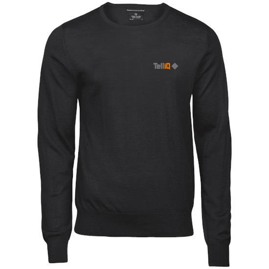 Stickad tröja Crew neck/V-neck med tryck Svart