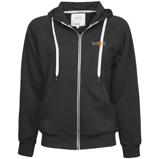 Urban zip hoodie med tryck Svart
