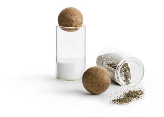SAGAFORM Oak salt- och pepparset med ekkork, 2-pack med tryck Vit