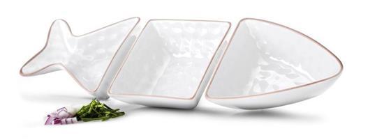 SAGAFORM Fish serveringsskål vit 3 delar med tryck Vit