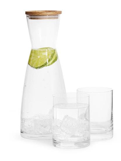 SAGAFORM Karaff & 2-pack glas med tryck Transparent