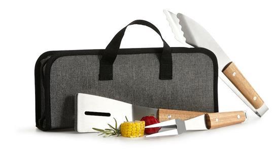 Gåvoset SAGAFORM BBQ set 3 delar med väska med tryck Vit